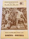 Program meci fotbal ROMANIA - NORVEGIA (03.06.1981)