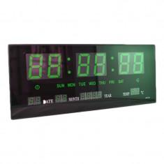 Ceas digital de perete 3615, alarma, LED verde