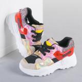 Pantofi sport dama Soni negri cu rosu