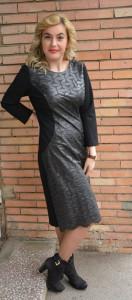 Rochie casual masura mare, neagra, din piele ecologica cu model