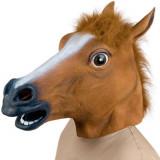 Masca amuzanta cap de cal, din latex, maro