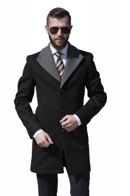 Palton barbati smart casual negru B153 foto