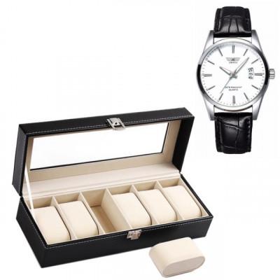Pachet caseta eleganta organizare si depozitare ceasuri cu 6 compartimente +... foto