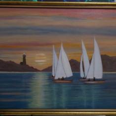 """Tablou """"Peisaj marin cu barci"""", ulei pe panza, 34x44 cm, cu rama noua din lemn"""
