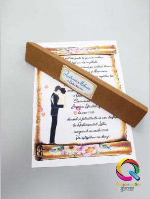 Invitatie de nunta papirus model floral vintage foto