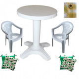 Set balcon masa 60 cm cu 2 scaune Carnaval culoare alba,2 perne scaun,Fata de masa rotunda 150cm B001101 Raki