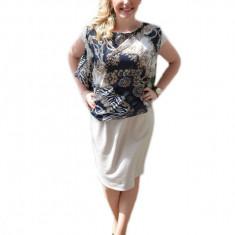 Rochie eleganta cu aspect de costum, bluza gri si fusta crem