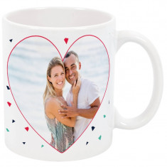 Cana personalizata cu o poza, model Love, ceramica alba, 325 ml