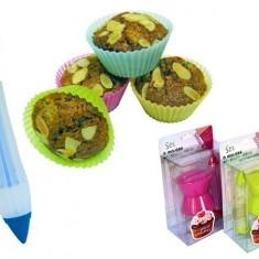 Kit patiserie 6 forme de silicon + seringa pentru decorare