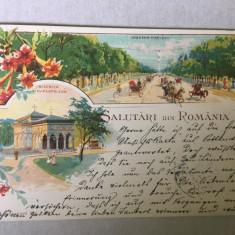 Litografie Bucuresti 1898 Art Nouveau