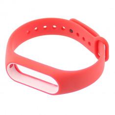 Curea compatibila cu Xiaomi Mi Band 2, siliconica, rosu cu alb - 650137