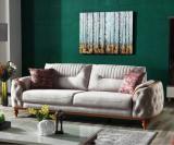 Canapea tapitata cu stofa, 3 locuri, cu functie sleep pentru 1 persoana Zenit Gri K1, l248xA96xH85 cm