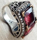 Inel PIETRE SEMIPRETIOASE - argint 925 - manufactura - INEL MARE GHIUL, 57 - 67