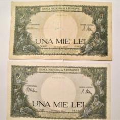 Lot 2 Bancnote vechi, Romania: 1000 Lei, 23 Martie 1943 + 20 Martie 1945