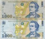 Romania (33) - 1000 Lei 1998 filigran mic, 1000 Lei 1998 filigran mare