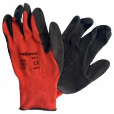 Manusi de protectie latex negru, poliester rosu TopStrong 540138