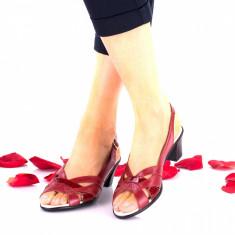 Sandale dama rosi din piele naturala si piele naturala lacuita toc 4cm - NA229B, 35 - 40, Rosu