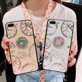 Husa cu pietricele + inel model TIME pt. iPhone SE 2020 , 7 , 8 , 7 Plus, 8 Plus