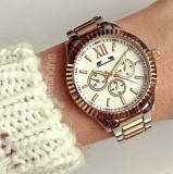 Ceas dama bicolor auriu cu argintiu si cadran alb cu model stilat