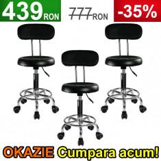 3x Scaun Salon, Taburet Negru cu Spatar, Dotari Salon Cosmetica, Coafor