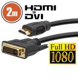 Cablu DVI-D HDMI 2 mcu conectoare placate cu aur