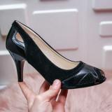 Pantofi Valima negri cu toc -rl