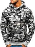 Bluză pentru bărbat cu glugă camuflaj-gri Bolf DD129-1