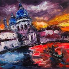 Ludovic Labbe - Venise , U/P 50 x 60 cm, Peisaje, Ulei, Altul