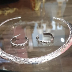 Set cercei si colier din argint, model impletit