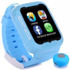 Ceas GPS Copii iUni Kid3, Telefon incorporat, Touchscreen 1.54 inch, BT, Notificari, Camera, Albastru + Boxa Cadou