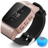 Ceas GPS Copii si Seniori iUni U100, Telefon incorporat, Pedometru, Notificari, Wi-fi, Rose Gold + Boxa Cadou