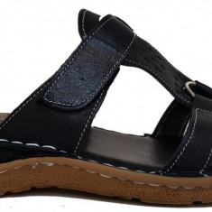 Papuci de dama din piele cu scai SCV 52104 negru