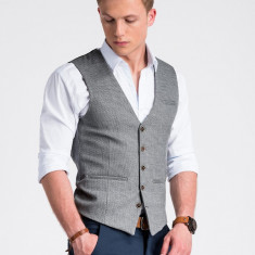 Vesta premium eleganta barbati V52 gri deschis