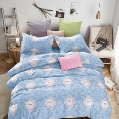 Lenjerie de pat din Bumbac Satinat pentru 2 persoane cu 4 piese F12A 11, 230x250 cm, Set complet