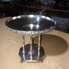 Fructiera din alpaca argintata stantata