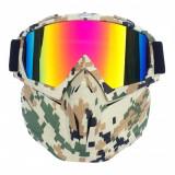 Masca protectie fata, plastic dur + ochelari ski, lentila multicolora, MCMFP01