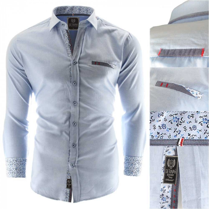 Camasa pentru barbati, bleu, Slim fit, casual, cu guler - Prato