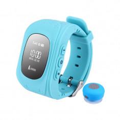 Ceas GPS Tracker si Telefon pentru copii iUni Kid60, BT, Apel SOS, Activity and sleep, Albastru + Boxa Cadou