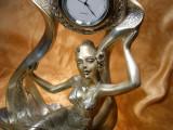 Ceas sculptura Art Nouveau laminaj argint Italy colectie cadou vintage