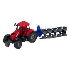 Tractor agricol de jucarie, model cu plug, rosu, 47x14x15 cm