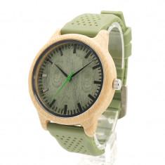 Ceas din bambus Bobo Bird cu curea din silicon verde, B06 Wooden Lux