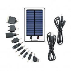 Set incarcator solar universal Bresser, 2000 mAh, mini USB, 10 conectori foto