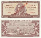 1965, 10 Pesos (P-96cs) - Cuba - SPECIMEN stare UNC