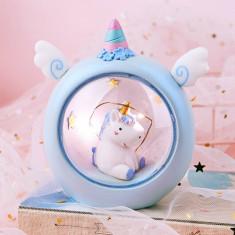 Lampa LED pentru copii in forma de unicorn, albastru, Gonga