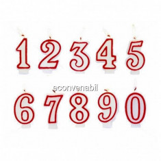 Set 12 lumanari aniversare pentru tort Cifre de acelasi fel 0-9