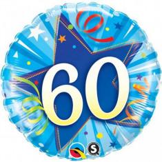 Balon aniversar 60 ani bleu din folie metalizata 43cm