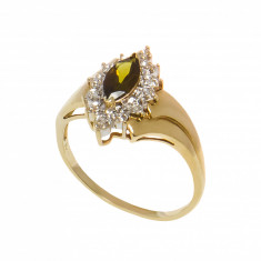 Inel anturaj din aur galben 10K, diamante si cuart fumuriu