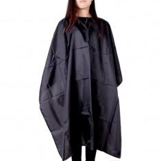 Pelerina pentru coafor, impermeabila, prindere cordon, 100x140 cm, negru