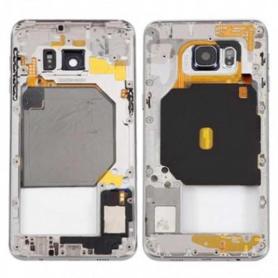 Carcasa mijloc cu geam camera / blitz , Samsung Galaxy S6 edge+ G928 Argintiu Orig Swap A foto