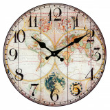 Ceas de perete, rotund, model harta lumii, 30 cm, multicolor
